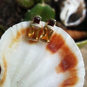 10K Gold Garnet and Citrine Earrings